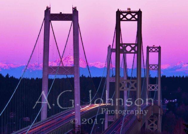 Tacoma narrows bridge, long exposure bridge, sunrise in Tacoma wa